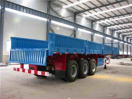 14T 3 Axle Flatbed Semi Trailer / cargo container trailer with side wall