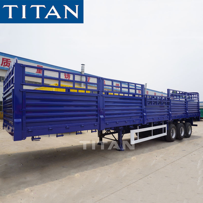 40 ton 60 ton dry cargo carrier trailer 3 axles fence semi trailer drop sided trailer