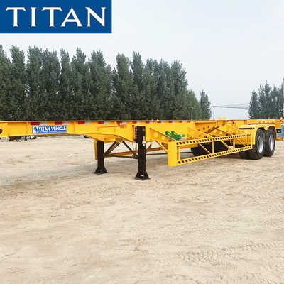 China TITAN 2 Axles 40′ Straight Skeleton Container Semi-trailer Chassis factory