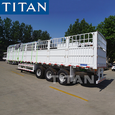 China TITAN 50 tons 3 axles fence cargo livestock transport semi trailer for sale factory