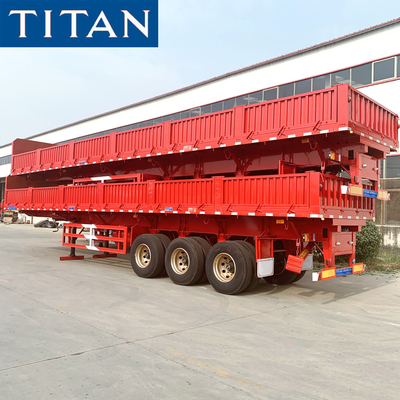China TITAN 50 Ton Multifunction Dropside Flatbed Trailer With Sideboard for Sale factory