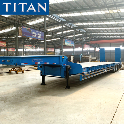 China TITAN 3 axles 70T Construction Machine Transport lowbed trailer for sale factory