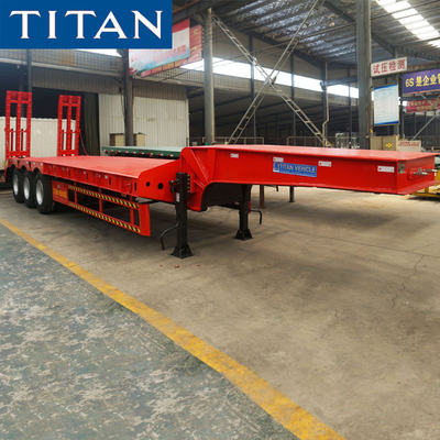 China TITAN 3 axles heavy transport excavator equipment low bed trailer for sale factory