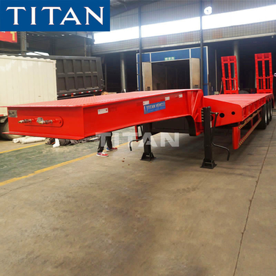 China TITAN 3 axles 60 tons 80 tons heavy duty equipment low bed semi trailer factory