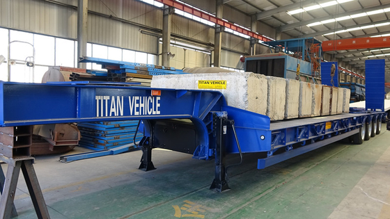 TITAN 3/4/6 axles 40/60/80 tons machine carrier port engine low flat bed trailer