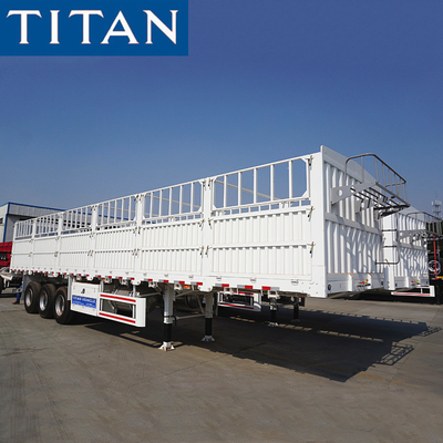 China TITAN 3 axles livestock fence cargo sugar cane trailers for sale factory