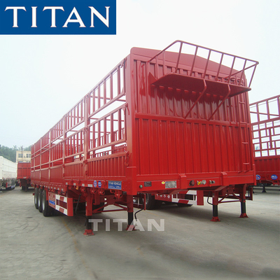 China TITAN 40-60 ton general cargo grain hopper fences trailers price factory