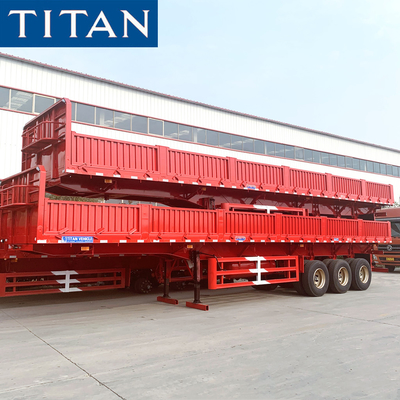 China TITAN 3 axle 50 ton dry cargo platform side wall semi trailers price factory