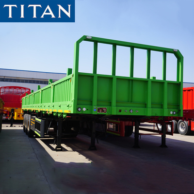 China TITAN 3 axle 50 ton general cargo high side semi trailers price factory