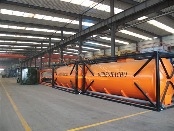 20ft 40ft Container diesel fuel tank trailer with carbon steel tank body