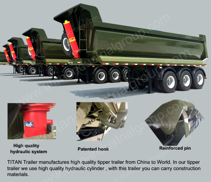 3 axles half pipe type tipper semi trailer for sale