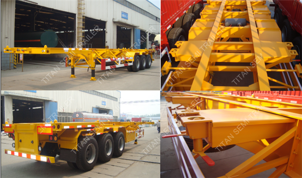 Tri - Axles 40ft Container Trailer Chassis With 12 Pcs Twist Lock
