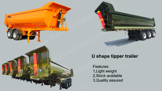 Light weight U shape 24cbm dump trailer by 40HQ container shipping