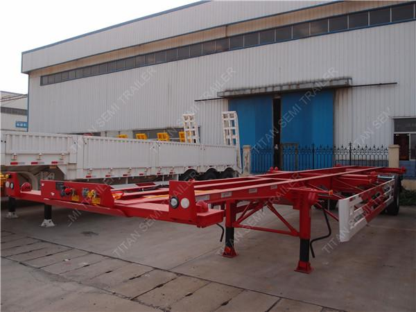 Single Axle Semi Trailer : Single axle container trailer chassis with a tons load