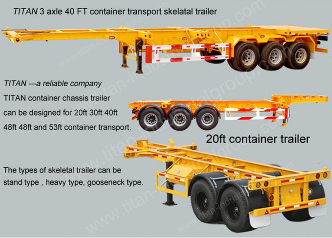 3 Axles 40FT Container Trailer Chassis , Skeleton Semi Trailer For Container Transportation